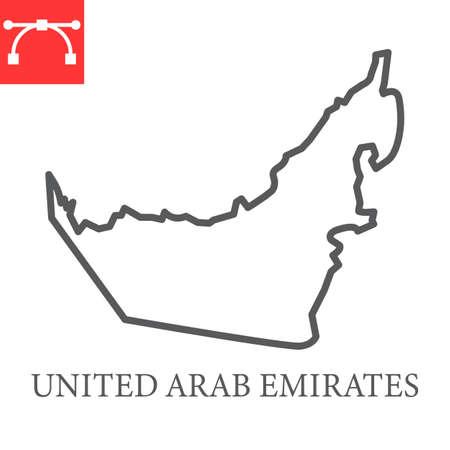Map of United Arab Emirates line icon