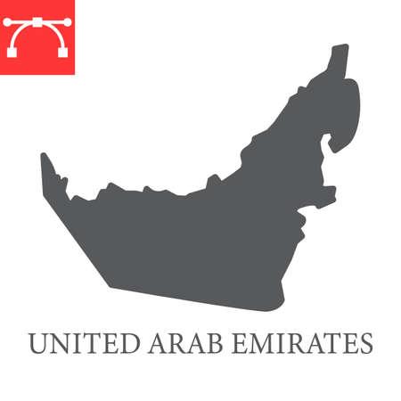 Map of United Arab Emirates glyph icon Иллюстрация