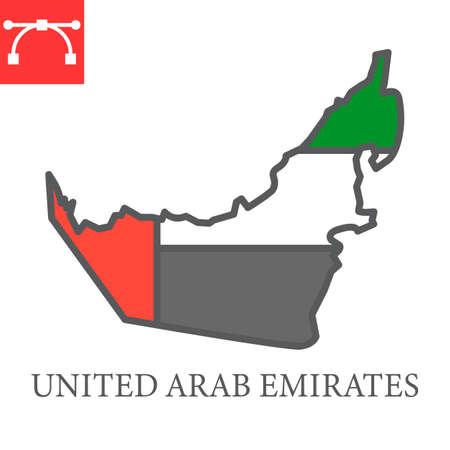 Map of United Arab Emirates map color line icon