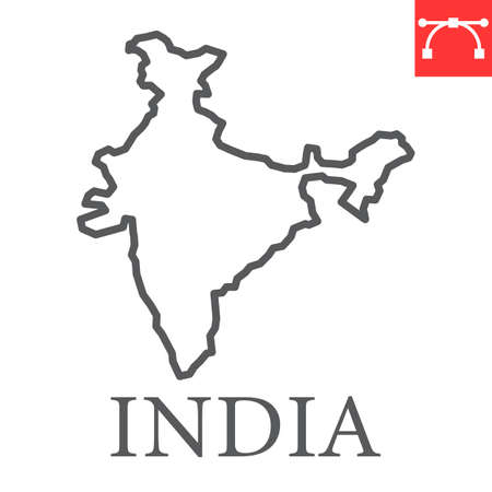 Map of India line icon