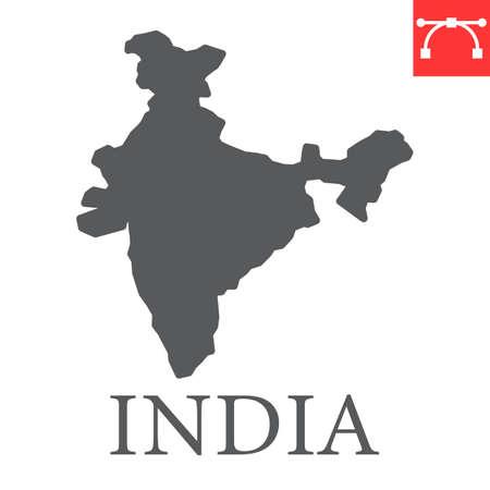 Map of India glyph icon Иллюстрация