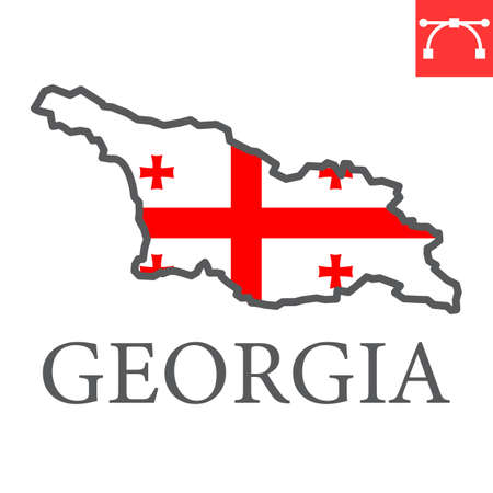 Map of Georgia flag color line icon Иллюстрация