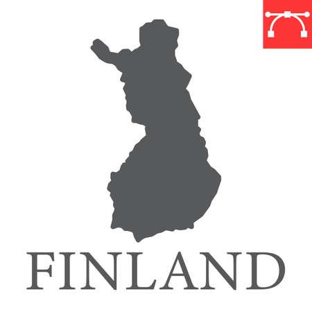 Map of Finland glyph icon Иллюстрация