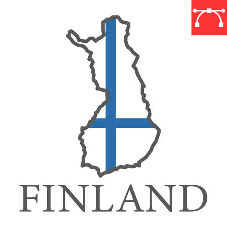 Map of Finland flag color line icon