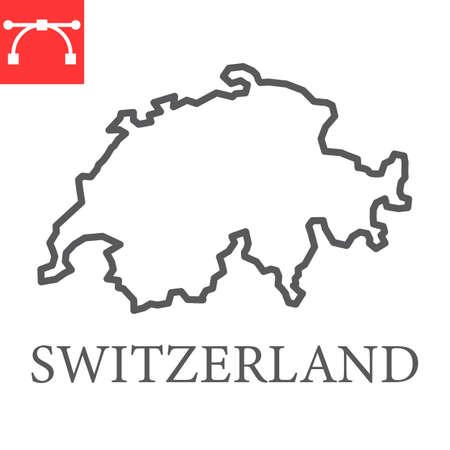 Map of Switzerland line icon