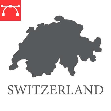 Map of Switzerland glyph icon Иллюстрация