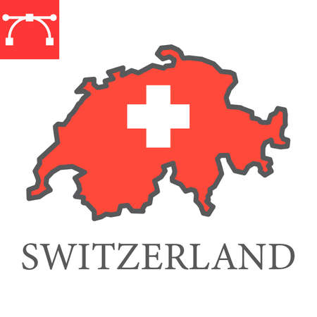 Map of Switzerland flag color line icon