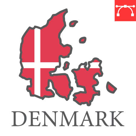 Map of Denmark flag color line icon
