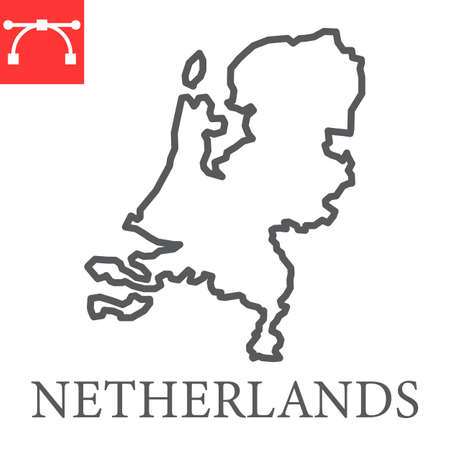 Map of Netherlands line icon