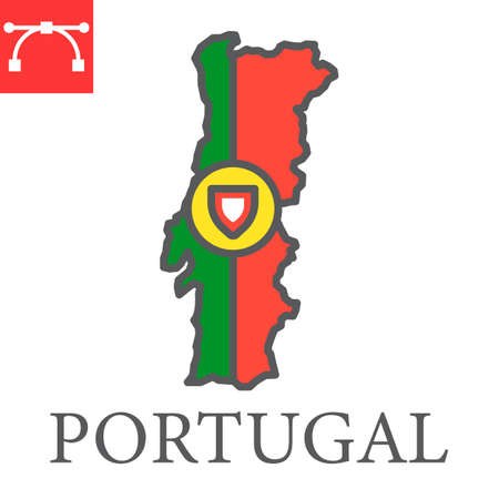 Map of Portugal flag color line icon