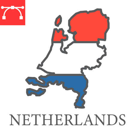 Map of Netherlands flag color line icon