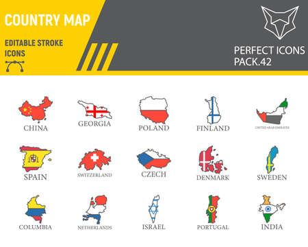 Map of country flag color line icon set