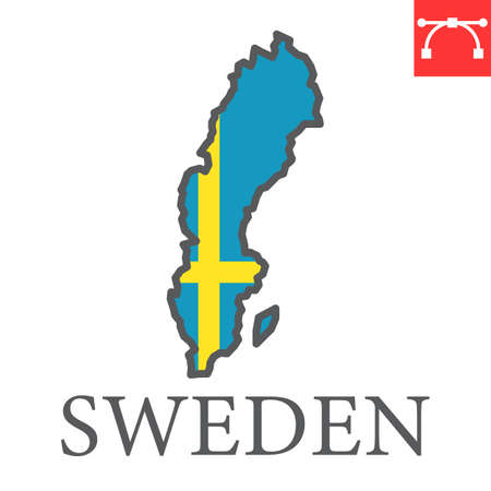 Map of Sweden flag color line icon