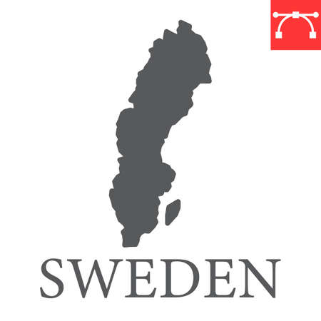 Map of Sweden glyph icon Иллюстрация