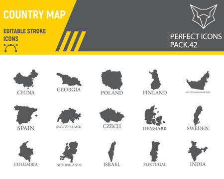 Map of country glyph icon set