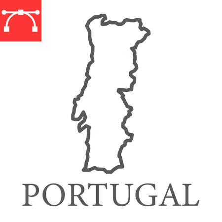 Map of Portugal line icon