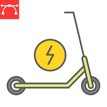 Electric scooter color line icon