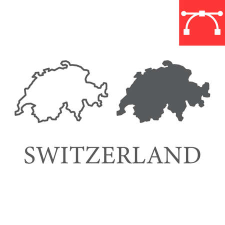 Map of Switzerland line and glyph icon, country and travel, Switzerland map vector icon, vector graphics, editable stroke outline sign, eps 10
