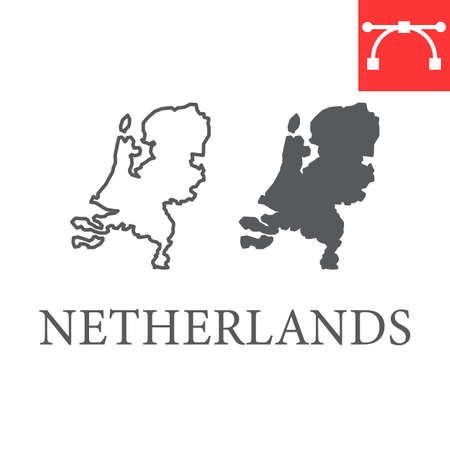 Map of Netherlands line and glyph icon, country and Netherland, Netherlands map vector icon, vector graphics, editable stroke outline sign, eps 10