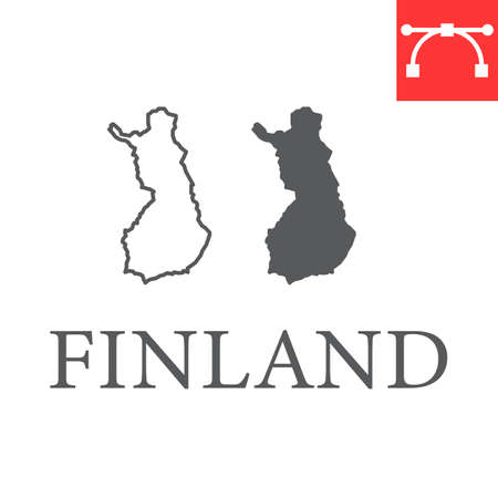 Map of Finland line and glyph icon, country and travel, Finland map vector icon, vector graphics, editable stroke outline sign, eps 10
