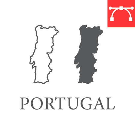 Map of Portugal line and glyph icon, country and travel, Portugal map vector icon, vector graphics, editable stroke outline sign, eps 10