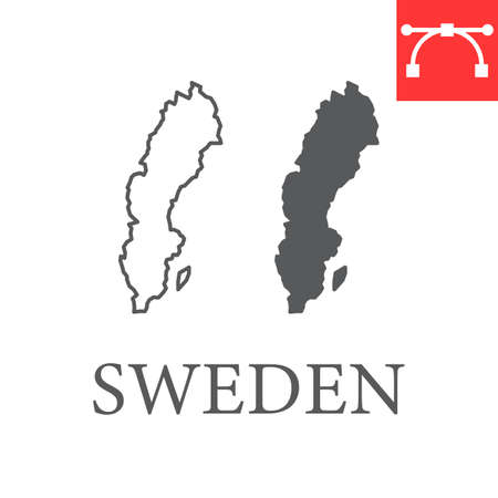 Map of Sweden line and glyph icon, country and travel, Sweden map vector icon, vector graphics, editable stroke outline sign, eps 10 向量圖像