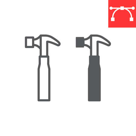 Hammer line and glyph icon, tool and repair, hammer vector icon, vector graphics, editable stroke outline sign, eps 10