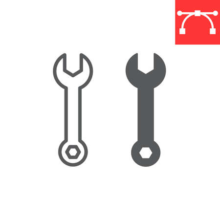 Wrench line and glyph icon, tool and repair, spanner vector icon, vector graphics, editable stroke outline sign, eps 10 向量圖像