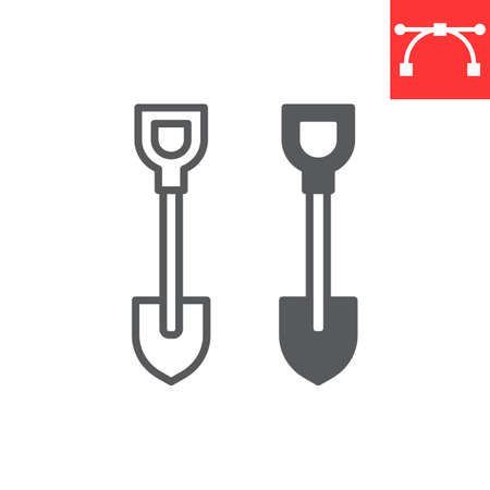 Shovel line and glyph icon, tool and dig, shovel vector icon, vector graphics, editable stroke outline sign, eps 10