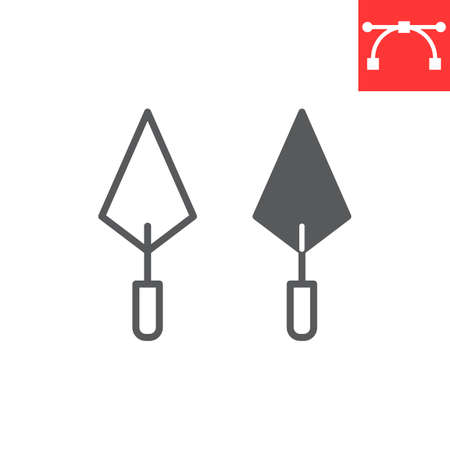 Trowel line and glyph icon, tool and repair, trowel vector icon, vector graphics, editable stroke outline sign, eps 10
