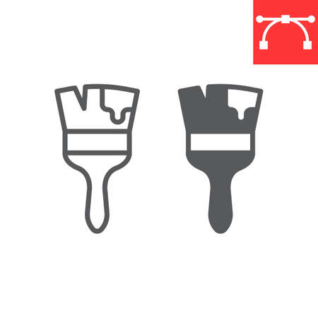 Paint brush line and glyph icon, tool and repair, paintbrush vector icon, vector graphics, editable stroke outline sign, eps 10