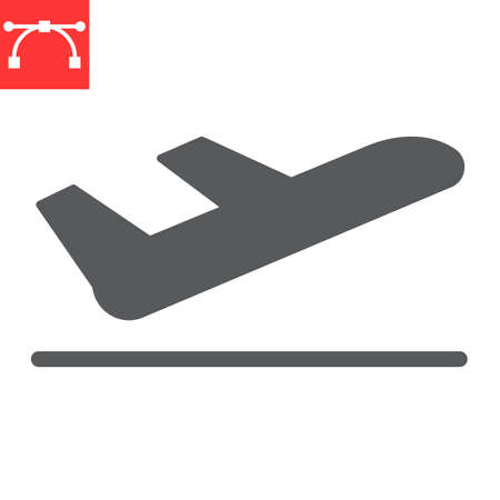 Airport departure glyph icon, aircraft and plane, takeoff vector icon, vector graphics, editable stroke solid sign 向量圖像