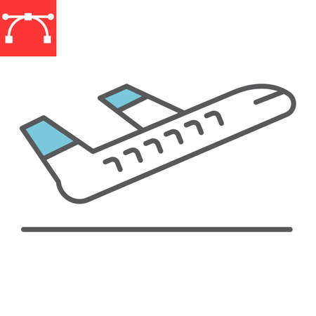 Airport departure color line icon, aircraft and plane, takeoff vector icon, vector graphics, editable stroke filled outline sign 向量圖像
