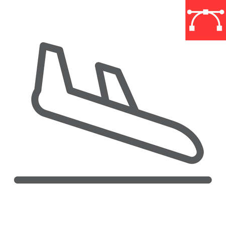 Airplane landing line icon, aircraft and arrival, airport arrivals vector icon, vector graphics, editable stroke outline sign