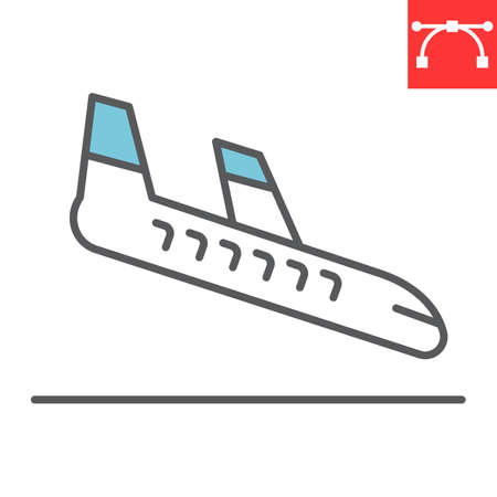Airplane landing color line icon, aircraft and arrival, airport arrivals vector icon, vector graphics, editable stroke filled outline sign