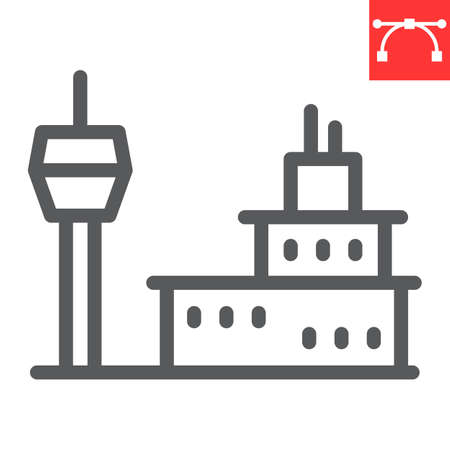 Airport building line icon, tower and aviation, airport vector icon, vector graphics, editable stroke outline sign 向量圖像