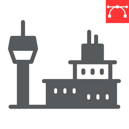 Airport building glyph icon, tower and aviation, airport vector icon, vector graphics, editable stroke solid sign 向量圖像