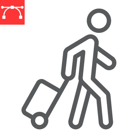 Person pulling luggage line icon, migration and tourist, passenger with rolling bag vector icon, vector graphics, editable stroke outline sign