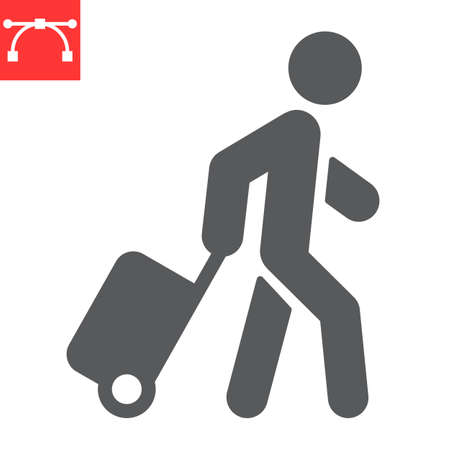 Person pulling luggage glyph icon, migration and tourist, passenger with rolling bag vector icon, vector graphics, editable stroke solid sign 向量圖像