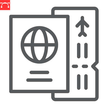 Passport with ticket line icon, travel and tourist, passport vector icon, vector graphics, editable stroke outline sign, eps 10