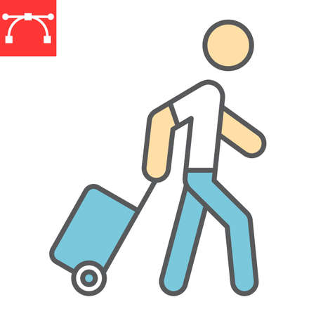 Person pulling luggage color line icon, migration and tourist, passenger with rolling bag vector icon, vector graphics, editable stroke filled outline sign