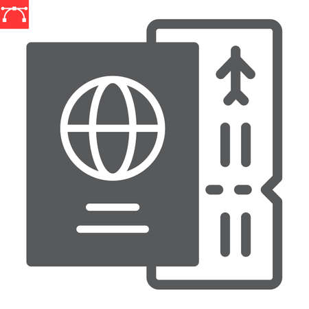 Passport with ticket glyph icon, travel and tourist, passport vector icon, vector graphics, editable stroke solid sign
