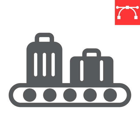 Baggage claim glyph icon