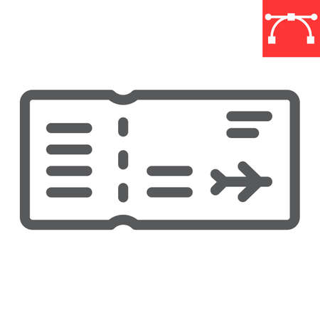 Air ticket line icon