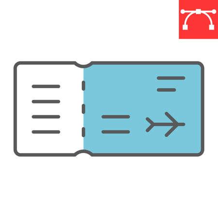 Air ticket color line icon 向量圖像