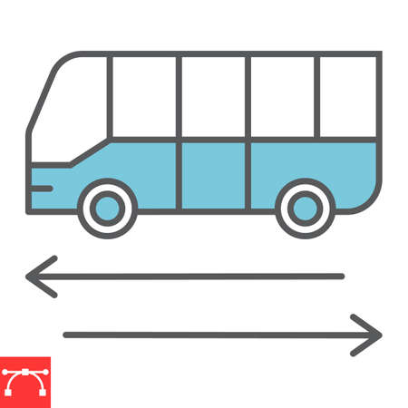 Shuttle bus color line icon