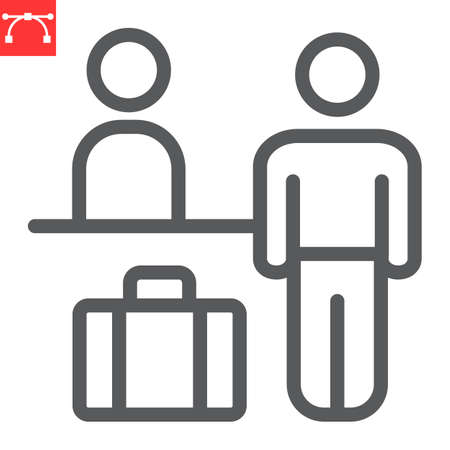 Airport check in line icon