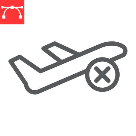 Flight cancelled line icon