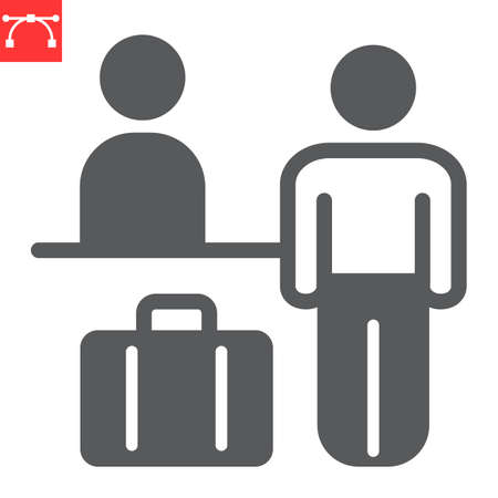 Airport check in glyph icon