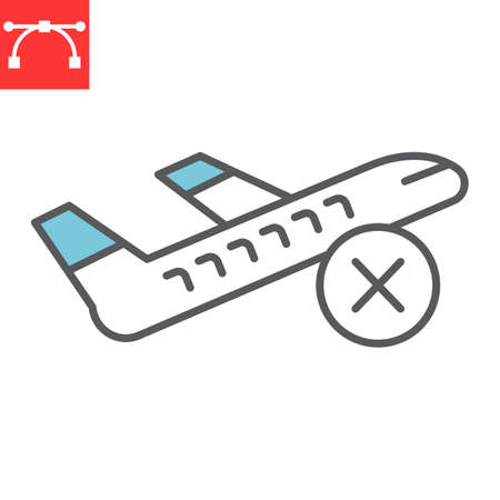 Flight cancelled color line icon